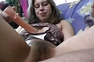 bushy dilettante wife toys and rides a knob with