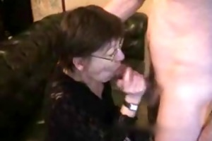 aged wife gets cum on face and chest