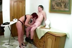 excited aged housewife screwed by boy