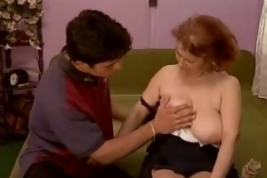 redhead granny and collage student