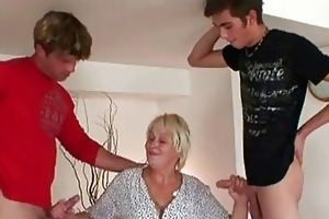 aged granny honey craves three-some do...