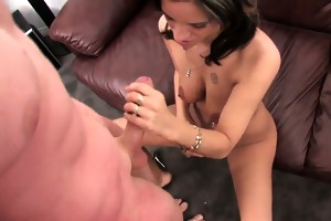 sexy latin babe mamma receives face full of cum