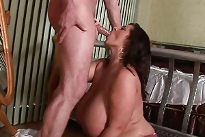 lusty mega breasted mother i chick blows a obese