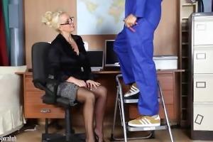 office mother i wanks off her handymans large