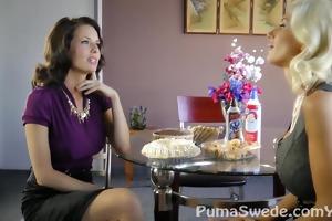 pleasant twat pie!! breasty puma swede with d