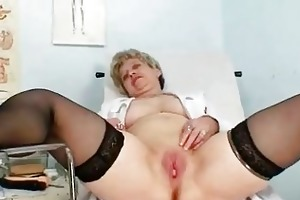 breasty granny in uniform stretchi...