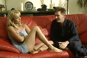 older housewife screwed on red bed