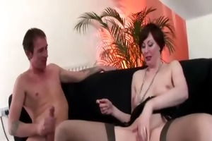older madame in nylons riding pounder