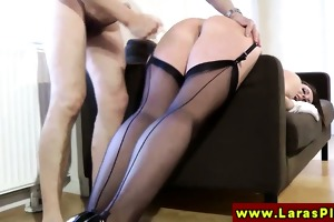 euro aged in nylons acquires screwed doggystyle