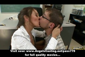 hawt brunette hair teacher has cum-hole licked