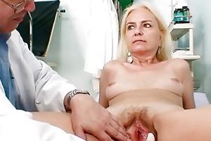 slender shaggy granny woman doctor treatment