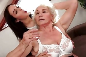 cute dark brown loves busty granny