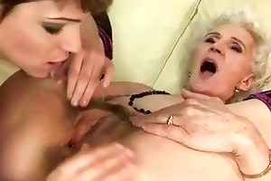 granny enjoys lesbian sex with juvenile cutie