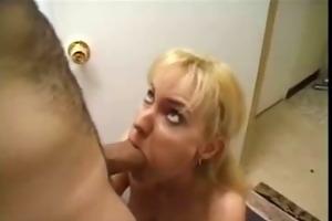 blond mature sucks bulky schlong and gets his cum