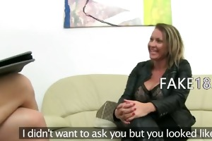older playgirl fucking on leather sofa