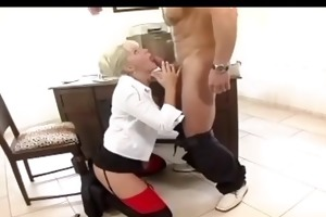 secretary fucking in haunch high stockings and a