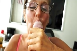 a nasty older lady sucks and jerks