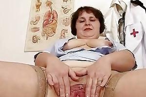 messy overweight mama strips nurse uniform