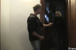 golden-haired allows him drill her old cum-hole