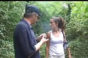 old guy sucked by a milf in a forest