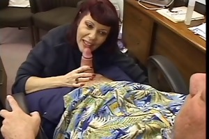 redhead gives oral pleasure and boob job to old