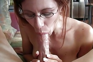 mature redhead momma with glasses doing