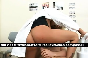 astounding blond dentist on her chair