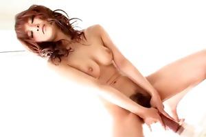 misa kikouden oils up a biggest fake penis and
