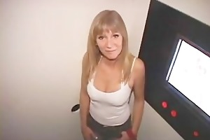 aged wife gets dual creampies in the gloryhole