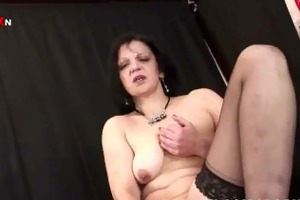 perverted older lady wears stockings and likes to