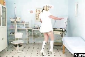 smutty nurse milf nada bonks herself with large