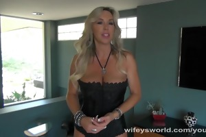 wifey unfathomable mouths large knob and swallows