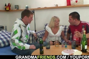 partying boys lure granny into some