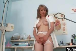 dirty old mama in nurse uniform wild masturbation