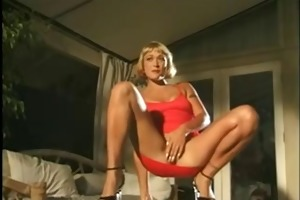 aged in red suit masturbating very close-up and