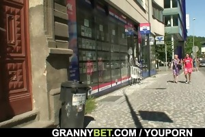 old granny is gangbanged by an juvenile pickuper