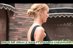 jessi highly sexy golden-haired flashing and