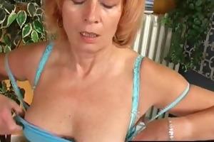 grandma digs into her curly bush