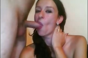 brunette hair wife acquires screwed and facialized