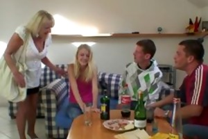 partying chaps screw drunk golden-haired granny