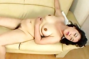 mature japanese acquires her shaggy muff toyed