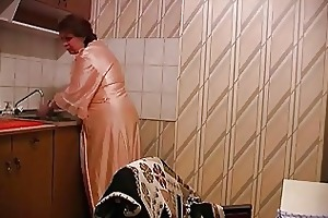 son copulates mother at the kitchen