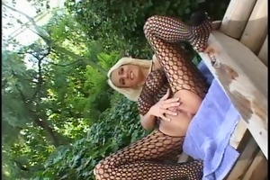 bent over chick in bodystocking receives holes