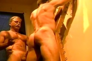 massive bodybuilders muscle butt receives an arse