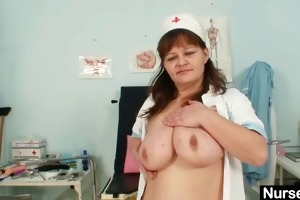 large bumpers mature lady wears nurse uniform and