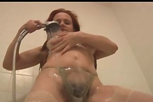 milf in shower showing off shaggy cunt