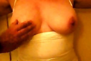 kk - my wifes milk sacks and shaven vagina -