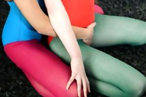 shaggy lesbians in nylon panties group-sex