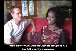 blameless afro bride in threesome does oral-job